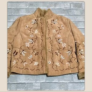 Relativity Jackets & Coats - (Relativity) Suede Embroidered Jacket